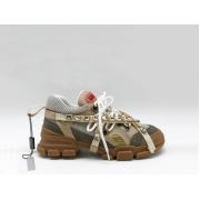 Женские кроссовки Gucci (Гуччи) Flashtrek со съемными ремнями-отделкой кристаллами Brown