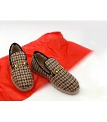 Женские лоферы Gucci (Гуччи) Fria текстиль с мехом в клетку Beige/Black