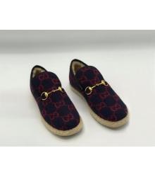 Женские лоферы Gucci (Гуччи) Fria текстиль с мехом в клетку Bordo