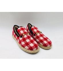 Женские лоферы Gucci (Гуччи) Fria текстиль с мехом в клетку Red