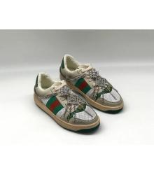 Женские кеды Gucci (Гуччи) комбинированные на шнурках Gray