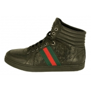 Мужские кроссовки Gucci (Гуччи) кожаные Black
