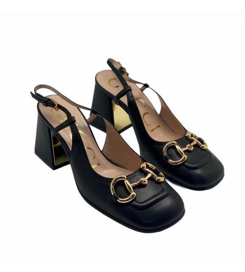 Босоножки женские Gucci (Гуччи) кожаные блочный каблук деталь Horsebit Black