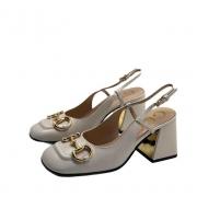 Босоножки женские Gucci (Гуччи) кожаные блочный каблук деталь Horsebit White