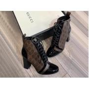 Женские ботильоны Gucci (Гуччи) кожаные каблук средней высоты с логотипом на шнурках Black/Brown