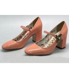 Женские туфли Gucci (Гуччи) кожаные лаковые Pink