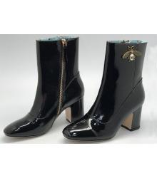 Полусапоги женские Gucci (Гуччи) кожаные на каблуке с пчелой Black
