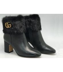 Полусапоги женские Gucci (Гуччи) кожаные на массивном каблуке Black