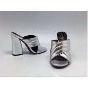Сабо женские Gucci (Гуччи) кожаные на массивном каблуке Silver