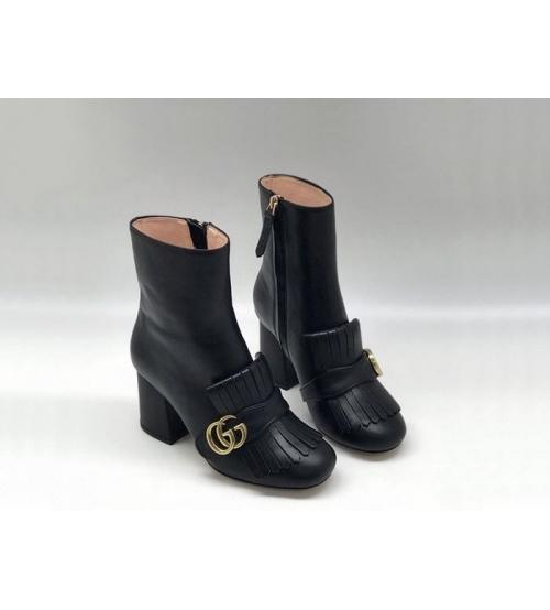 Женские ботильоны Gucci (Гуччи) кожаные на молнии каблук средней высоты с логотипом Black