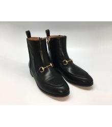 Женские полусапоги Gucci (Гуччи) кожаные на низком каблуке на молнии Black