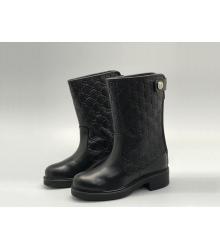 Женские полусапоги Gucci (Гуччи) кожаные на низком каблуке на молнии с лого Black