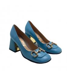 Женские туфли-лодочки Gucci (Гуччи) кожаные на среднем каблуке деталь Horsebit Blue
