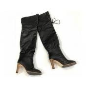 Ботфорты женские Gucci (Гуччи) кожаные на высоком каблуке Black