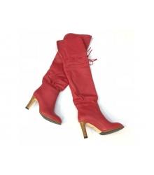 Ботфорты женские Gucci (Гуччи) кожаные на высоком каблуке Red