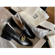 Женские лоферы Gucci (Гуччи) кожаные низкий каблук Black