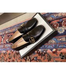 Женские лоферы Gucci (Гуччи) кожаные низкий каблук c logo Black
