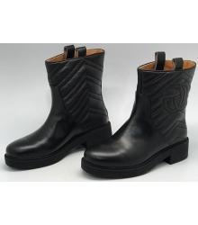 Полусапоги женские Gucci (Гуччи) кожаные осенние Black