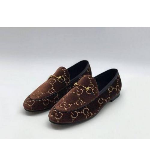 Женские лоферы Gucci (Гуччи) бархат прнт лого Brown