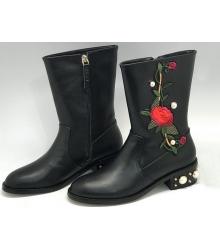 Полусапоги женские Gucci (Гуччи) кожаные с цветами Black