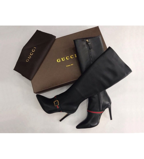 Женские сапоги Gucci (Гуччи) кожаные с лого каблук шпилька Black