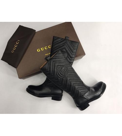 Женские сапоги Gucci (Гуччи) кожаные с лого низкий каблук с сердце Black