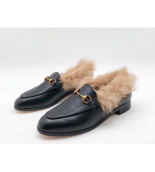 Мюли женские Gucci (Гуччи) кожаные с мехом Black - 12 950 руб ... 97889ee2d88