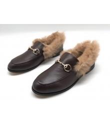 Лоферы женские Gucci (Гуччи) кожаные с мехом Brown