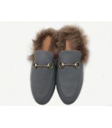 Мюли летние женские Gucci (Гуччи) кожаные с открытой пяткой Grey