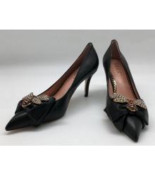 Женские туфли Gucci (Гуччи) кожаные с бантом и пчелой Black