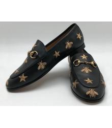 Женские лоферы Gucci (Гуччи) кожаные с пчелой и звездами Black
