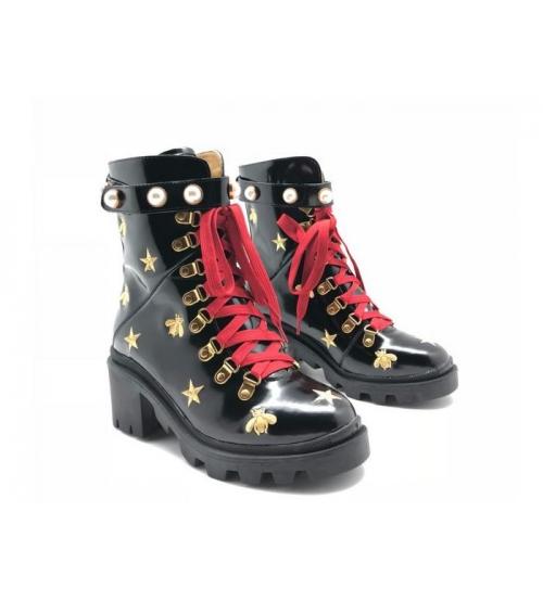 Ботинки женские Gucci (Гуччи) кожаные с пчелой звездами Black