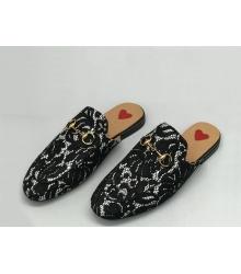Мюли женские Gucci (Гуччи) кожаные с принтом кружева Black