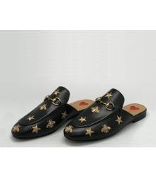 Мюли женские Gucci (Гуччи) кожаные с принтом пчелы и звезды Black