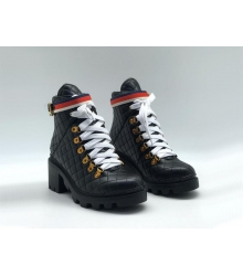 Женские ботинки Gucci (Гуччи) кожаные с узором GG на шнурках Black