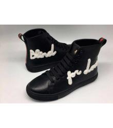 Кеды женские Gucci (Гуччи) кожаные с вышивкой Blind for Love High Black