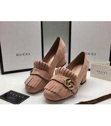 Женские туфли Gucci (Гуччи) замшевые средней высоты каблук Beige