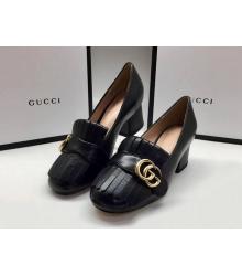 Женские туфли Gucci (Гуччи) кожаные средней высоты каблук Black
