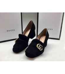 Женские туфли Gucci (Гуччи) замшевые средней высоты каблук Black