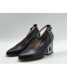 Женские туфли Gucci (Гуччи) кожаные средней высоты каблук со стразами Black