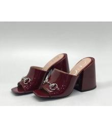 Сабо женские Gucci (Гуччи) лаковая кожа на массивном каблуке Bordo