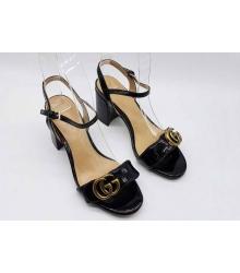 Босоножки женские Gucci (Гуччи) лаковая кожа на толстом каблуке Black