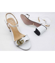 Босоножки женские Gucci (Гуччи) лаковая кожа на толстом каблуке White