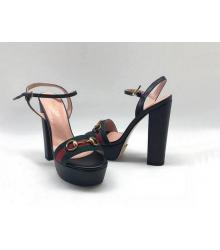 Босоножки женские Gucci (Гуччи) Leila летние кожа текстиль на высоком каблуке Black/Green