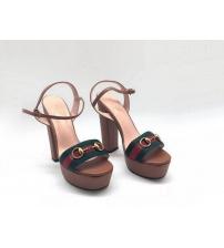 Босоножки женские Gucci (Гуччи) Leila летние кожа текстиль на высоком каблуке BrovnGreen