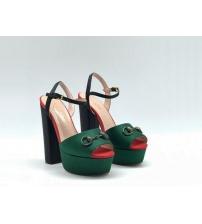 Босоножки женские Gucci (Гуччи) Leila летние кожа текстиль на высоком каблуке Green/Ped