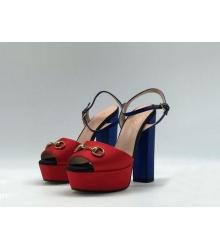 Босоножки женские Gucci (Гуччи) Leila летние кожа текстиль на высоком каблуке Ped/Blue