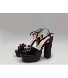 Босоножки женские Gucci (Гуччи) Leila летние кожаные на высоком каблуке Black