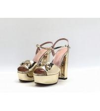 Босоножки женские Gucci (Гуччи) Leila летние кожаные на высоком каблуке Gold
