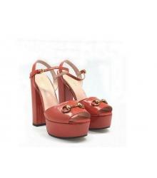 Босоножки женские Gucci (Гуччи) Leila летние кожаные на высоком каблуке Ped